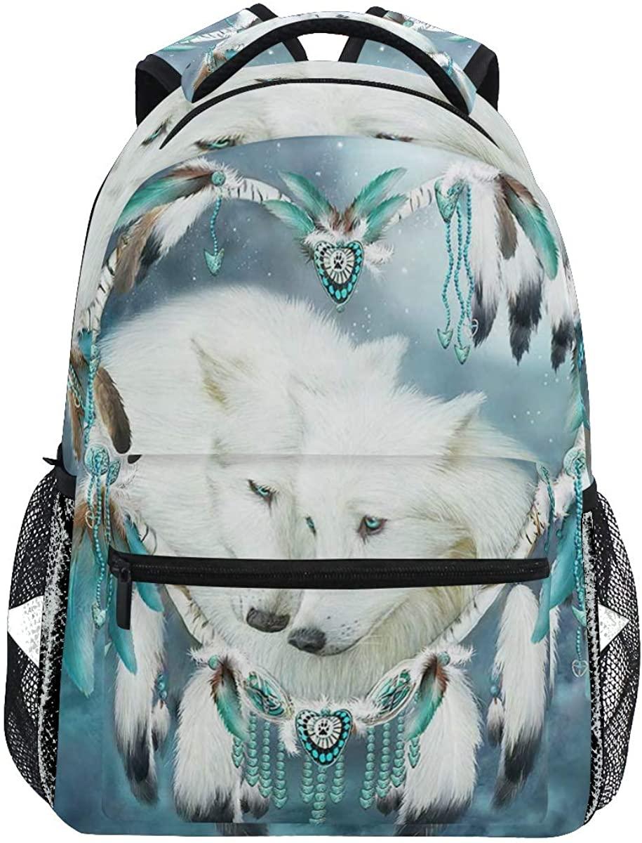 School Backpack Dream Catchers Wolf Bookbag for Boys Girls Teens Casual Travel Bag Computer Laptop Daypack