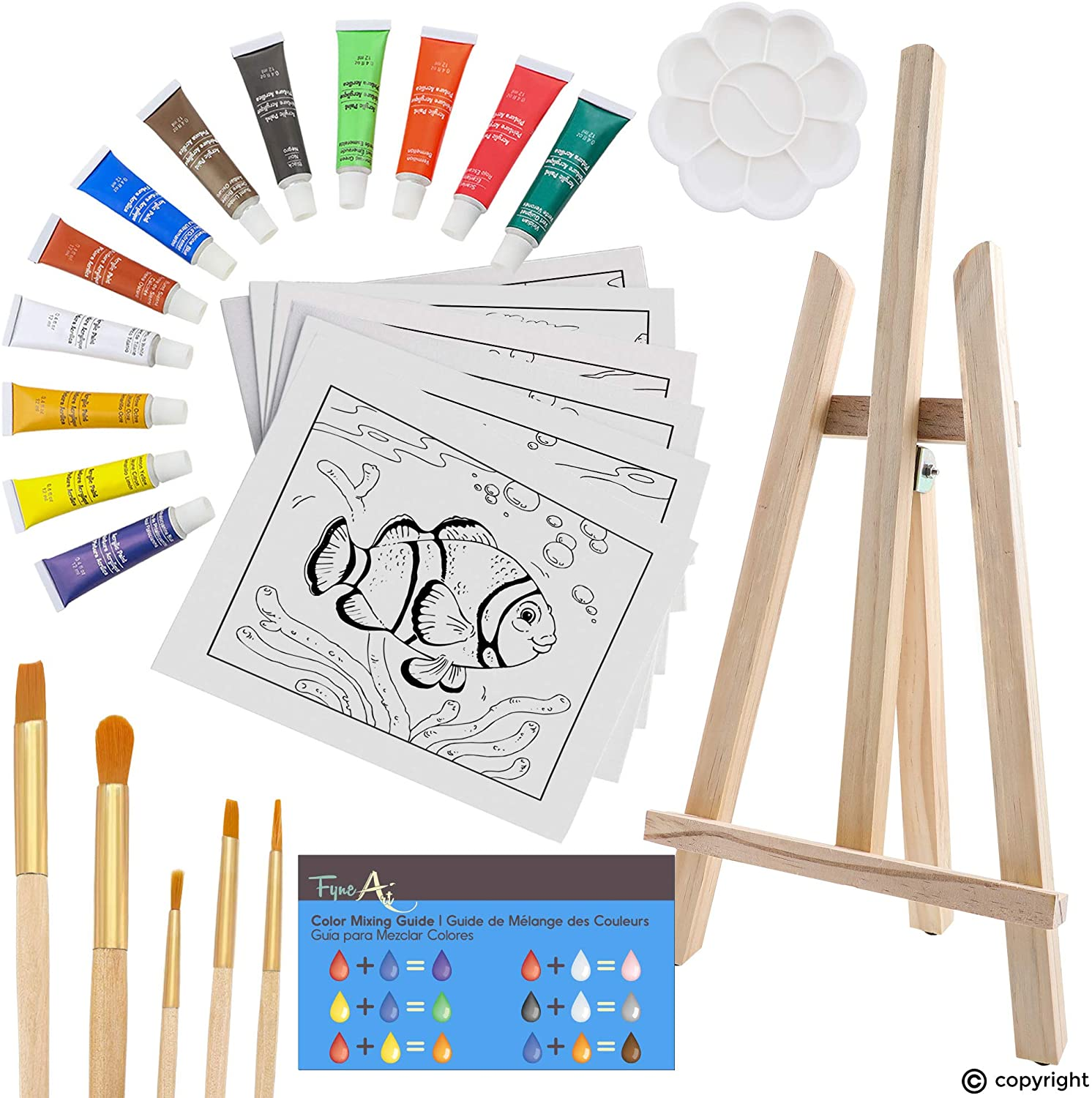 FyneArt, 26 Piece Kids Art Painting Set with Wood Easel, 6 Marine Animals Themed Canvases, 12 Color Acrylic Paints, 5 Paint Brushes, Palette. Arts Studio for Artist Children Ages 6+ Years