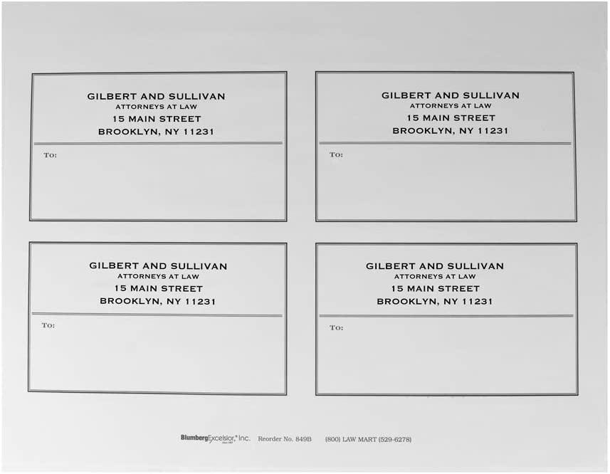 Blumberg Laser and Inkjet Mailing Labels; Imprinted with Return Address & Border; 4 per Sheet (600 Labels per Package)