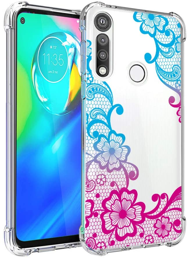 Lgarisy for Moto G Fast Case,Shock-Resistant Flexible TPU Gasbag Protection Rubber Soft Silicone Anti Dropping Phone Case Cover for Moto G Fast (A-Flower)