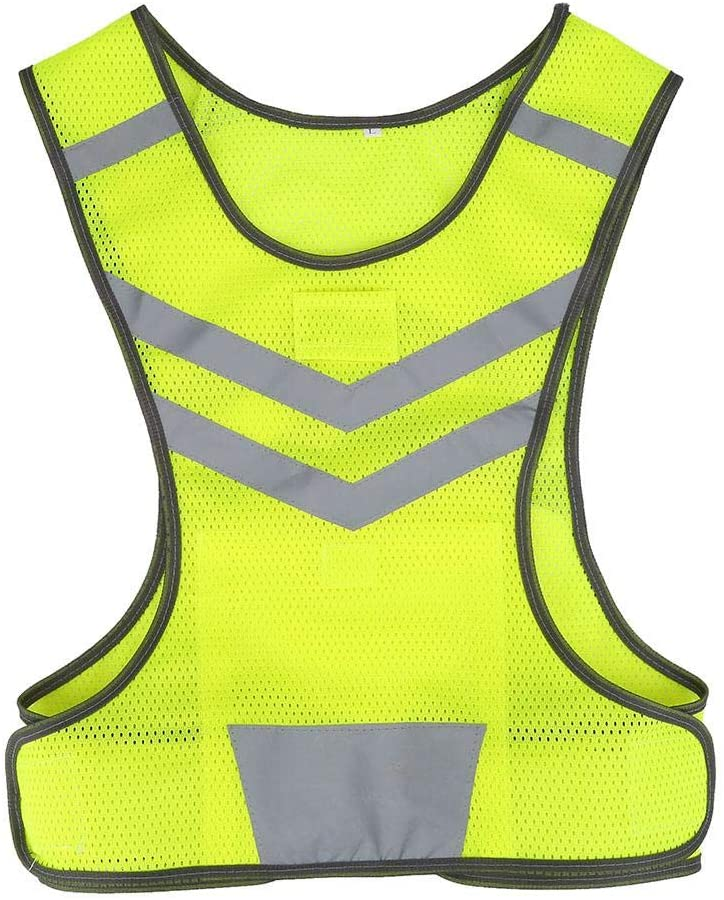 Reflective Safety Vest - Fluorescent Yellow Reflective Safety Vest, High Visibility Adjustable Reflective Safety Vest for Outdoor Sports Cycling Running Hiking