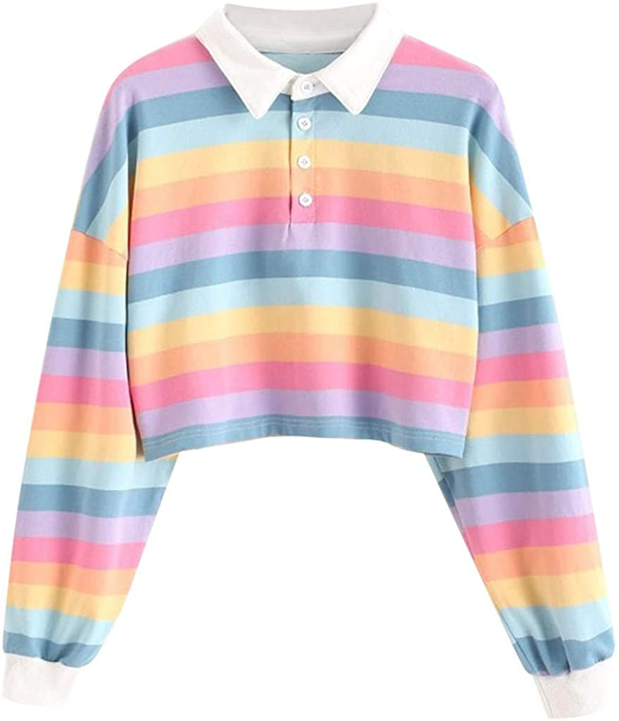 Womens Color Stripe Button Long Sleeve Girl Pullover Hoodies Casual Ladies Sweatshirt Tops Blouse