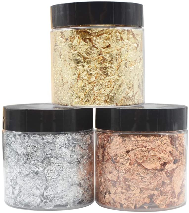 YYaaloa Shynek 3 Grams Gold Leaf Gilding Flakes Metallic Leaf for Jewelry Resin Nails Painting Arts, Crafts Nails,DIYs,Furniture Decpration (3g x 3color(Gold, Silver, Copper Colors))