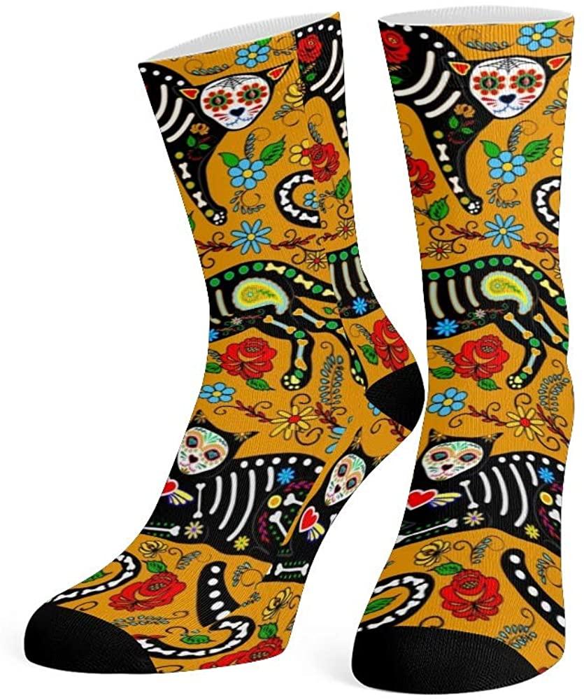 XOZOTY Custom Funny Novelty Cute Smocking Cat Crew Socks for Mens Womens