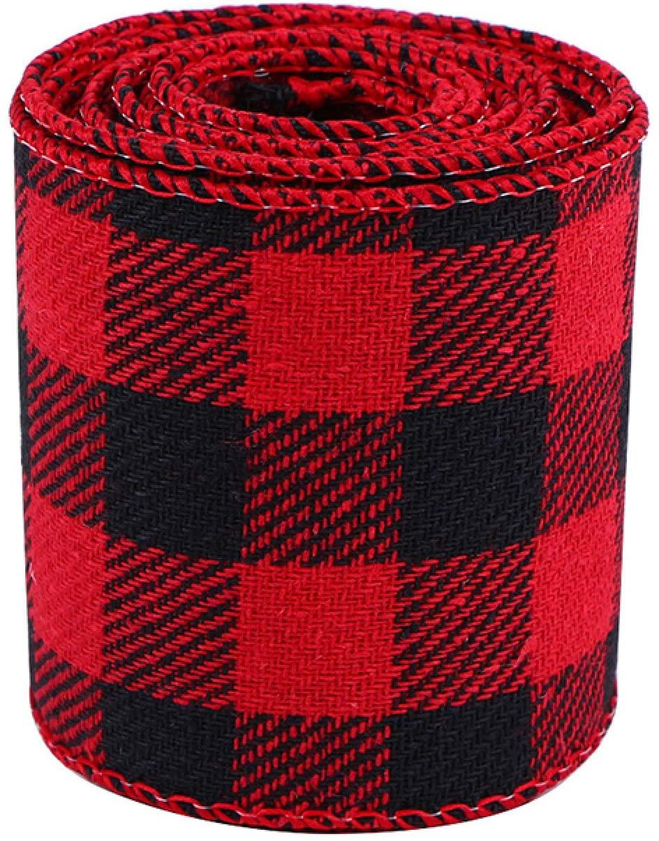 YIYIYI 6m Buffalo Ribbon Christmas Plaid Burlap Ribbon Red Black White Wired Edge Ribbon for DIY Wrapping Crafts Decoration