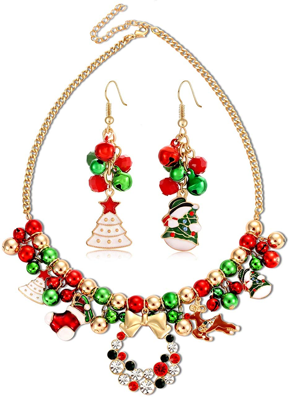 FAERLIIRY Christmas Jingle Bell Necklace Set X-mas Crystal Pendant Necklace Bell Beaded Earrings Festival Holiday Jewelry Set for Women Girls Kids