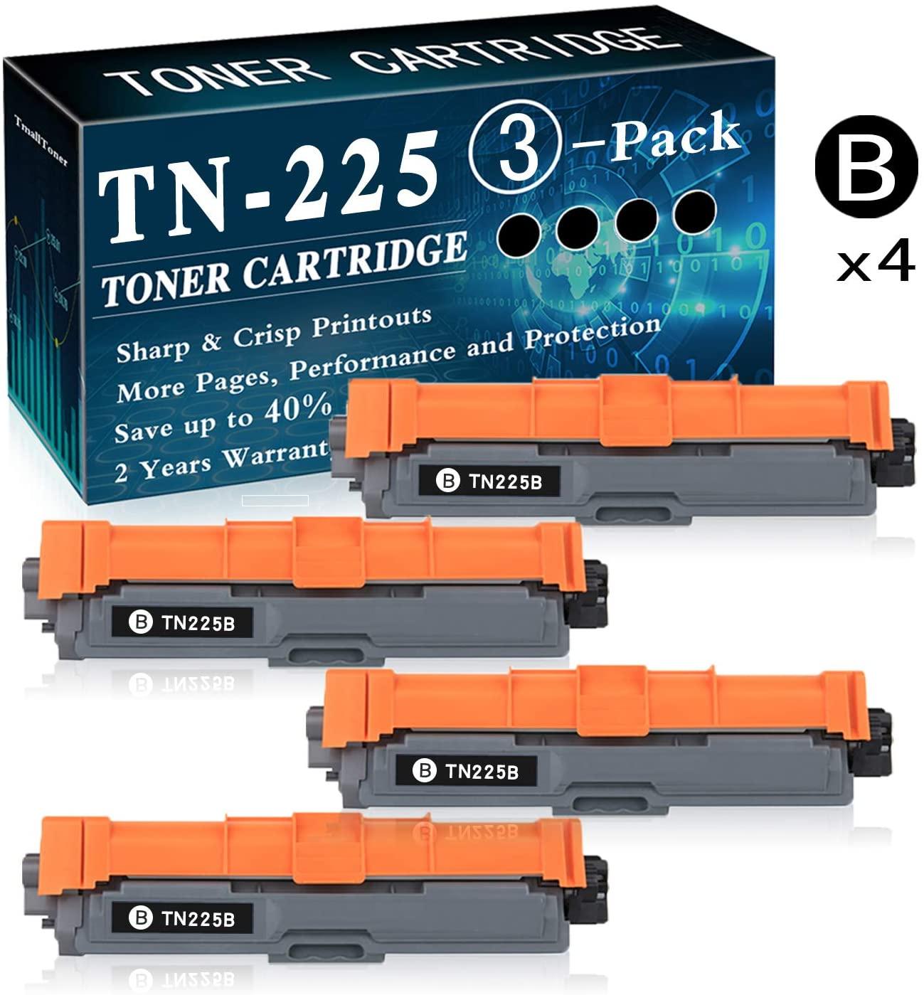 4-Pack Black TN-225 Toner Cartridge Replacement for Brother Laserjet HL-3140CW HL-3150CDN MFC-9130CW MFC-9330CDW DCP-9015CDW DCP-9020CDN Printer Printer,by TmallToner