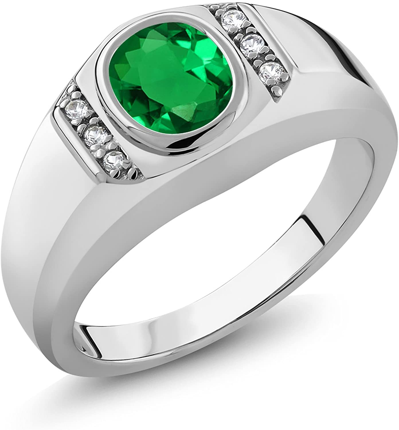 Gem Stone King 1.06 Ct Green Simulated Emerald White Created Sapphire 925 Sterling Silver Men's Ring