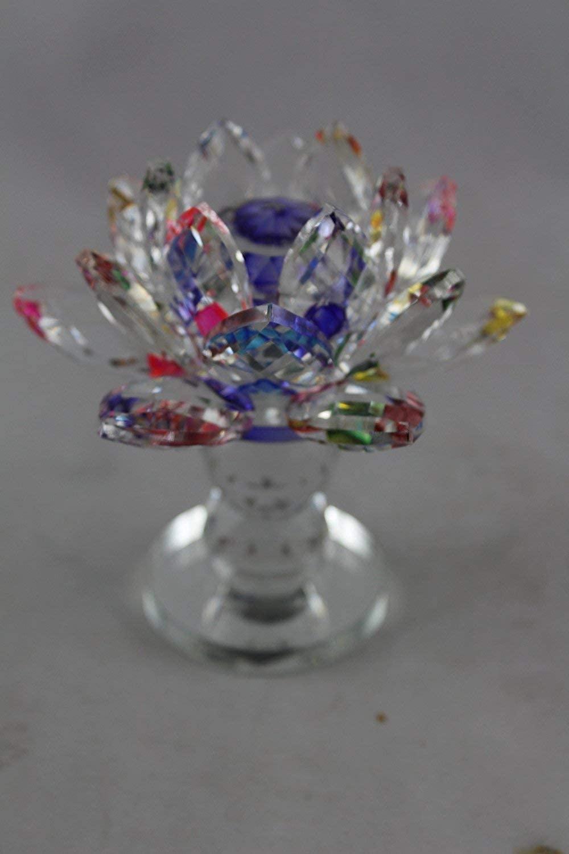 Odishabazaar Lotus Crystal Cum Stand Showpiece Multi Color