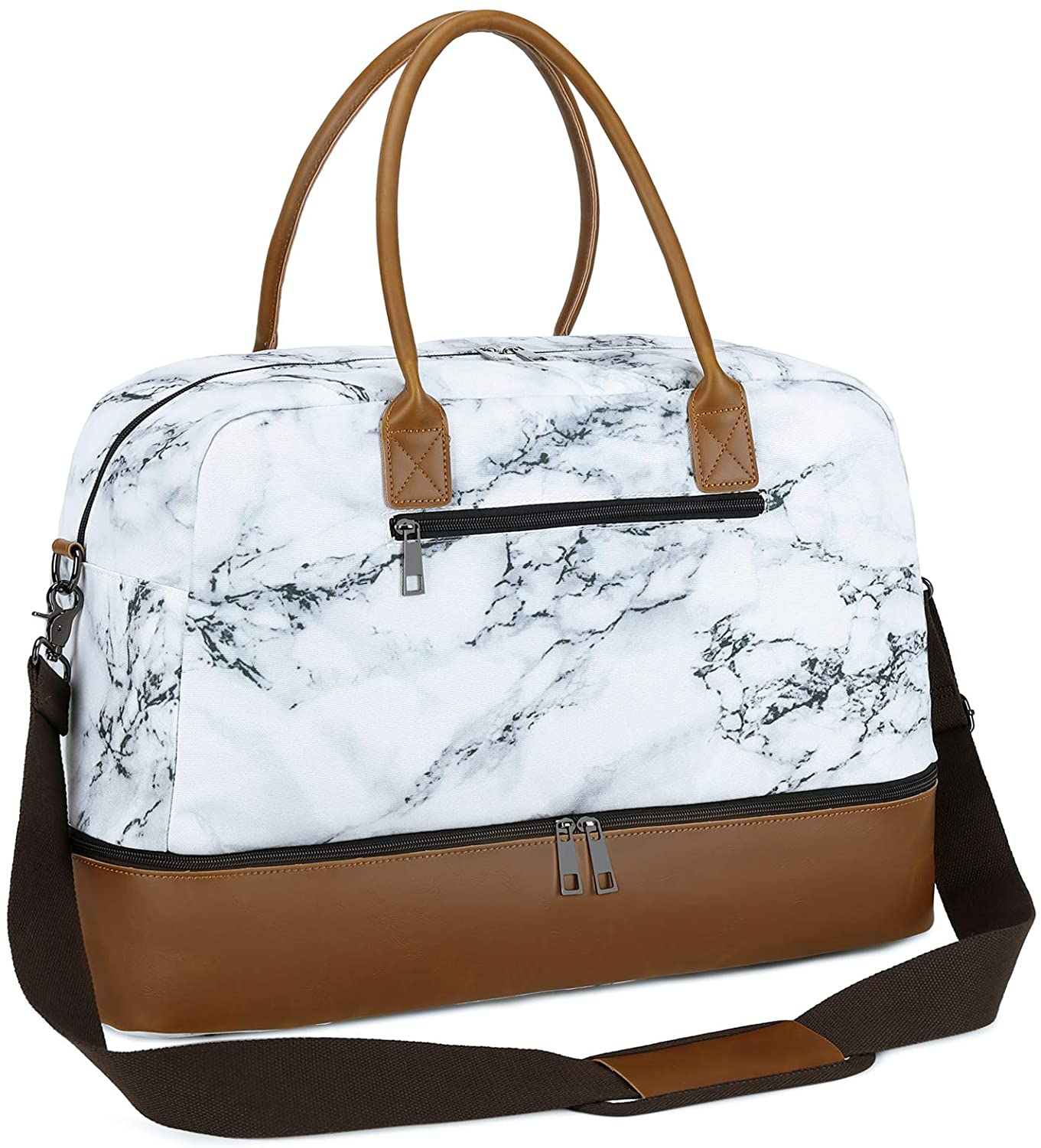 CAMTOP Overnight Weekender Bag for Women Men, Carry-on Travel Tote with Shoe Compartment (Marble)