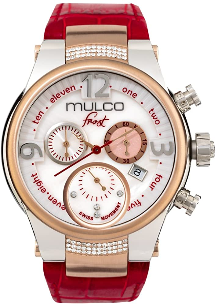 Mulco Frost Ladies Quartz Swiss Chronograph Movement Women's Watch | Mother of Pearl and Swarovski Sundial with Rose Gold and Swarovski Accents | Red Watch Band | Water Resistant MW5-2601-163
