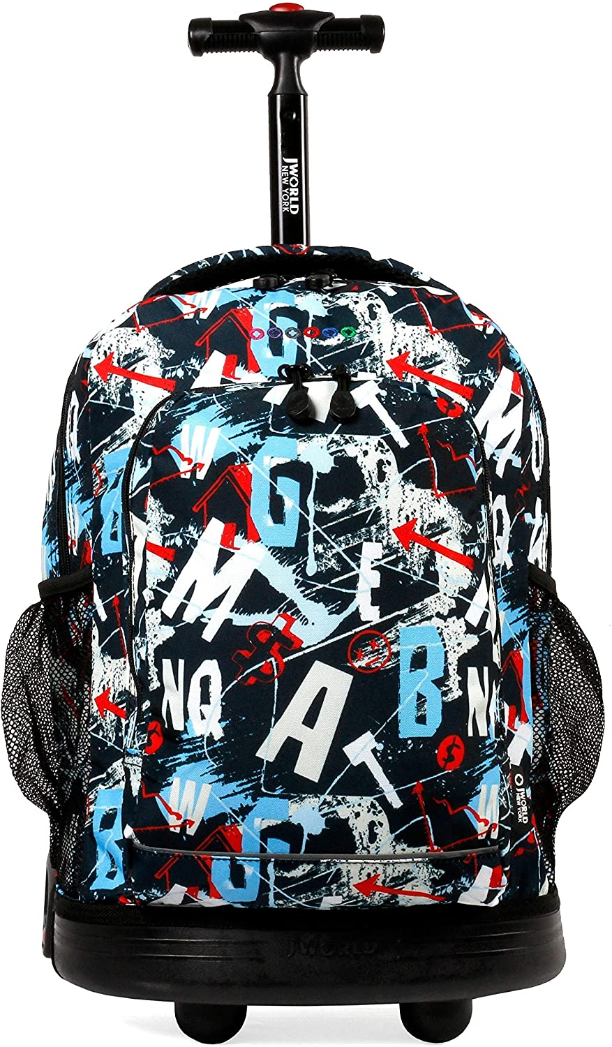 J World New York Sunny 17-inch Rolling Backpack Black Designer Print Polyester