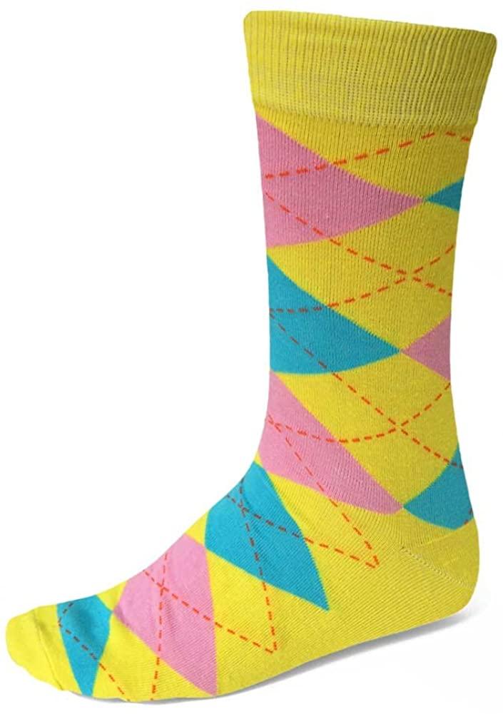 TieMart Men's Argyle Socks (Yellow and Turquoise)