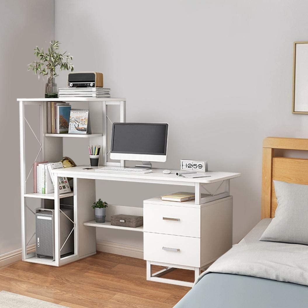 666 Modern Simple Style PC Desk w/Shelves, Computer Mainframe, Keyboard Tray, Compact Writing Desk w/Storage Bookshelf, Drawers for Home Office, Metal Frame, White, Easy Assemble, Space Saving