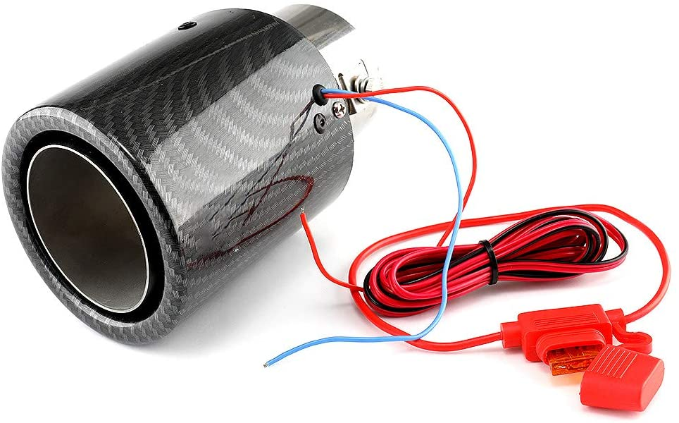 Car Exhaust Tip Tail Throat with LED Light, Carbon Fiber Style Car Exhaust Pipe Muffler End Tip Tailpipe (Blue Light)