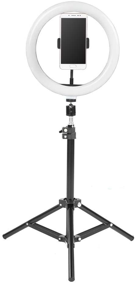 Keenso LED Ring Light, 10inch Selfie Ring Lamp Dimmable Fill Light 3 Dimmable Light Modes with Tripod Stand and Phone Holder for Live Broadcasting Makeup YouTube Video