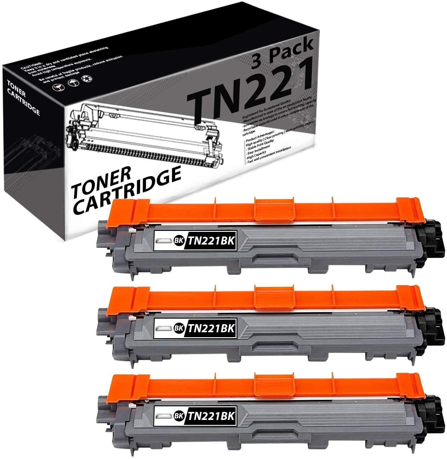 TN221 TN-221(3 Pack-Black) Compatible Toner Cartridge Replacement for Brother MFC-9130CW 9140CDN 9340CDW HL-3140CW 3150CDN 3170CDWDCP-9015CDW 9020CDN Printers.