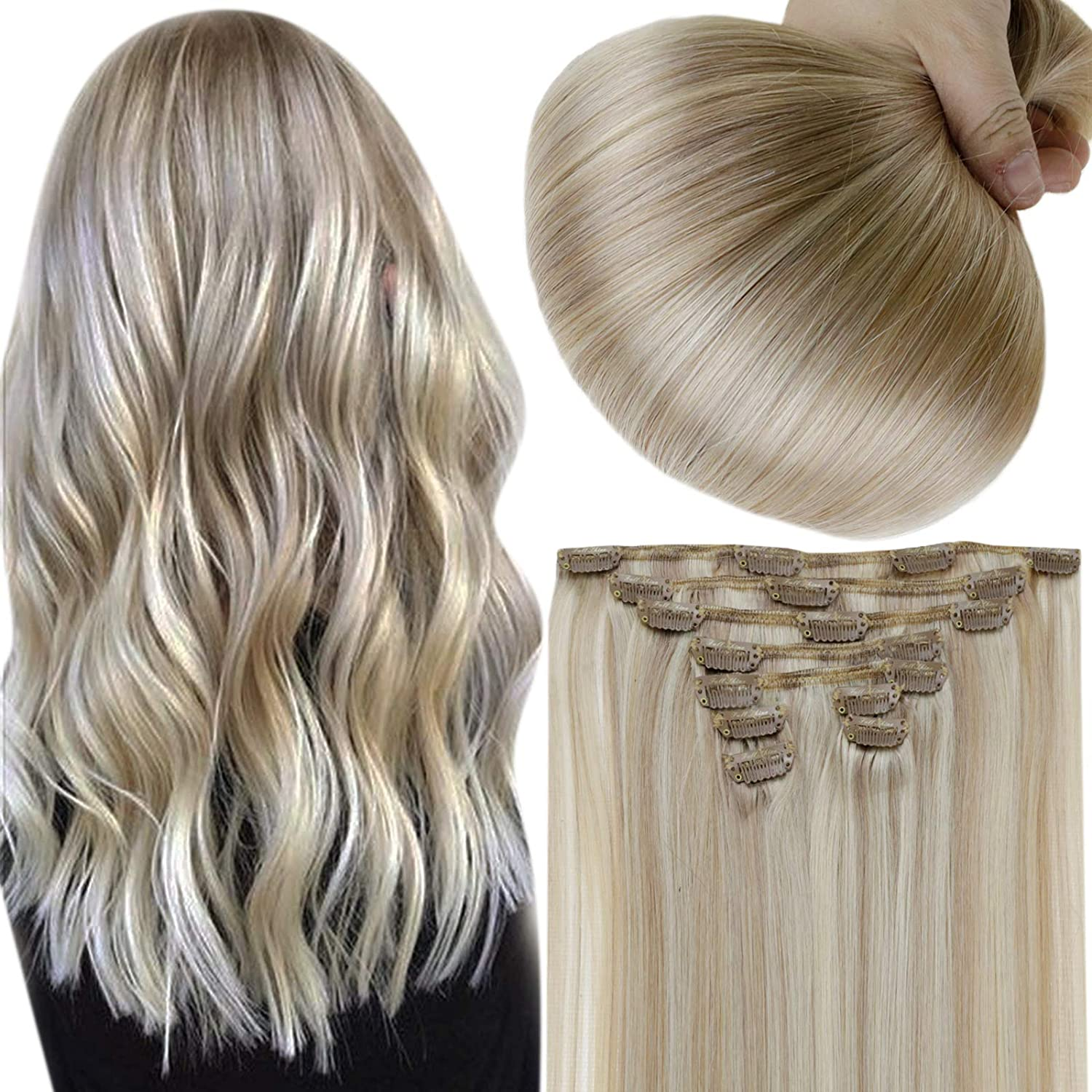 Full Shine Clip In Extensions Natural Hair Clip Ins 18 Inch Ash Blonde Highlighted Yellow Blonde 18 Highlight With 613 Double Weft Clip In Extensions Remy Hair Clip Extensions 100 Gram 7 Pcs Per Set