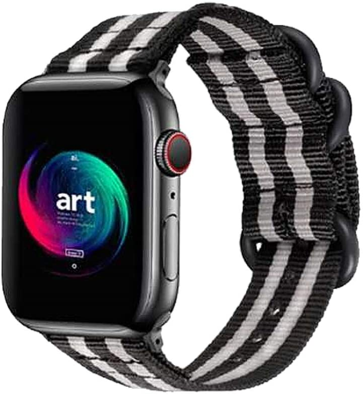 U/K Nylon Watch Bands Compatible with iWatch Series 6/5/4/3/2/1 Bands, Replacement Wristband for Apple Watch 38/40mm 42/44mm - 4244S/Black and Gray Stripe