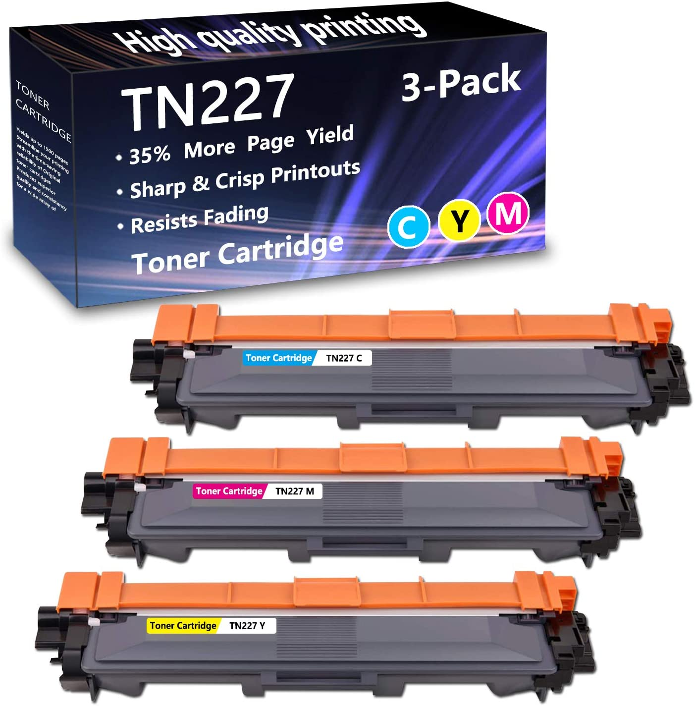 3 Pack (1C+1M+1Y) TN227 Toner Cartridge Replacement for Brother MFC-L3770CDW L3710CW L3750CDW L3730CDW HL-3210CW 3230CDW 3270CDW 3230CDN 3290CDW DCP-L3510CDW L3550CDW Printers,Sold by AlToner.