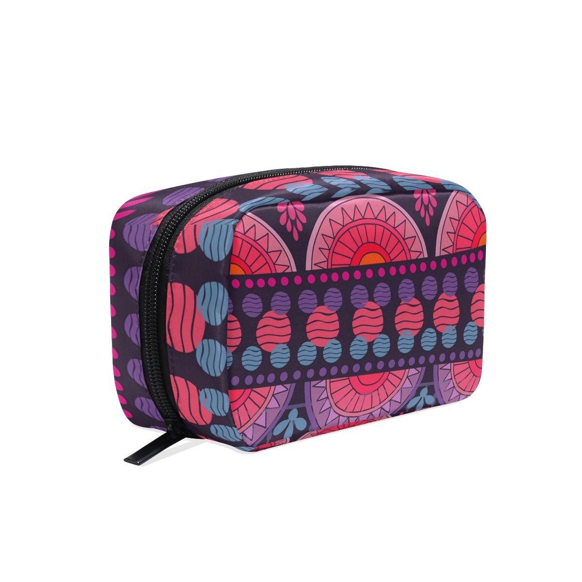 OREZI Toiletry Bag for women Girl Bright Purple Stripe Cosmetic Bag Portable Travel Makeup Bag Organizer