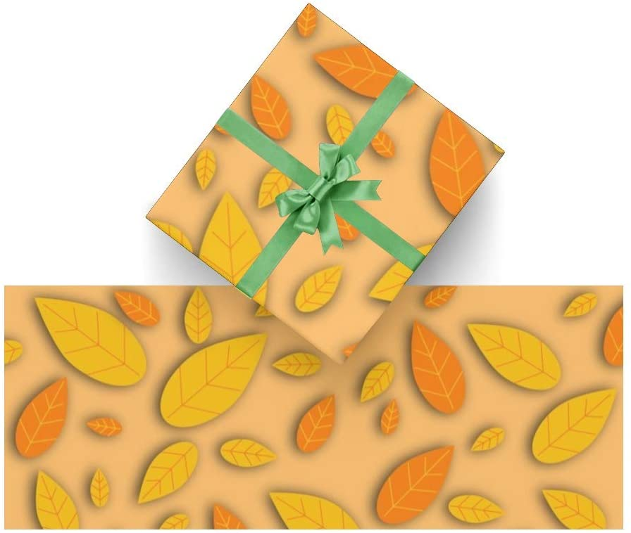 Wrapping Paper Autumn Yellow Leaves for Christmas,Birthday,Valentines Day,Bridal or Baby Showers Gift- 3Rolls - 58inch x 23inch Per Roll
