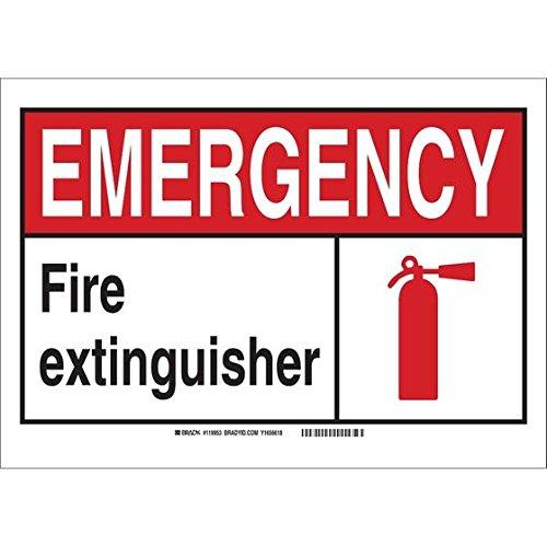 Brady 120224, 5 x 7 Vinyl Emergency Fire Extinguisher Sign, Black/Red/White, Pack of 100 pcs