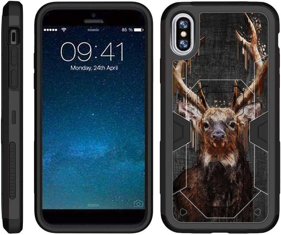 TurtleArmor   Compatible with Apple iPhone X Case   Apple iPhone 10 Case [Clip Caliber] Advanced Dual Layer Silicone Hybrid Durable Armor Clip Holster Hard Stand Case Animal - Painted Elk