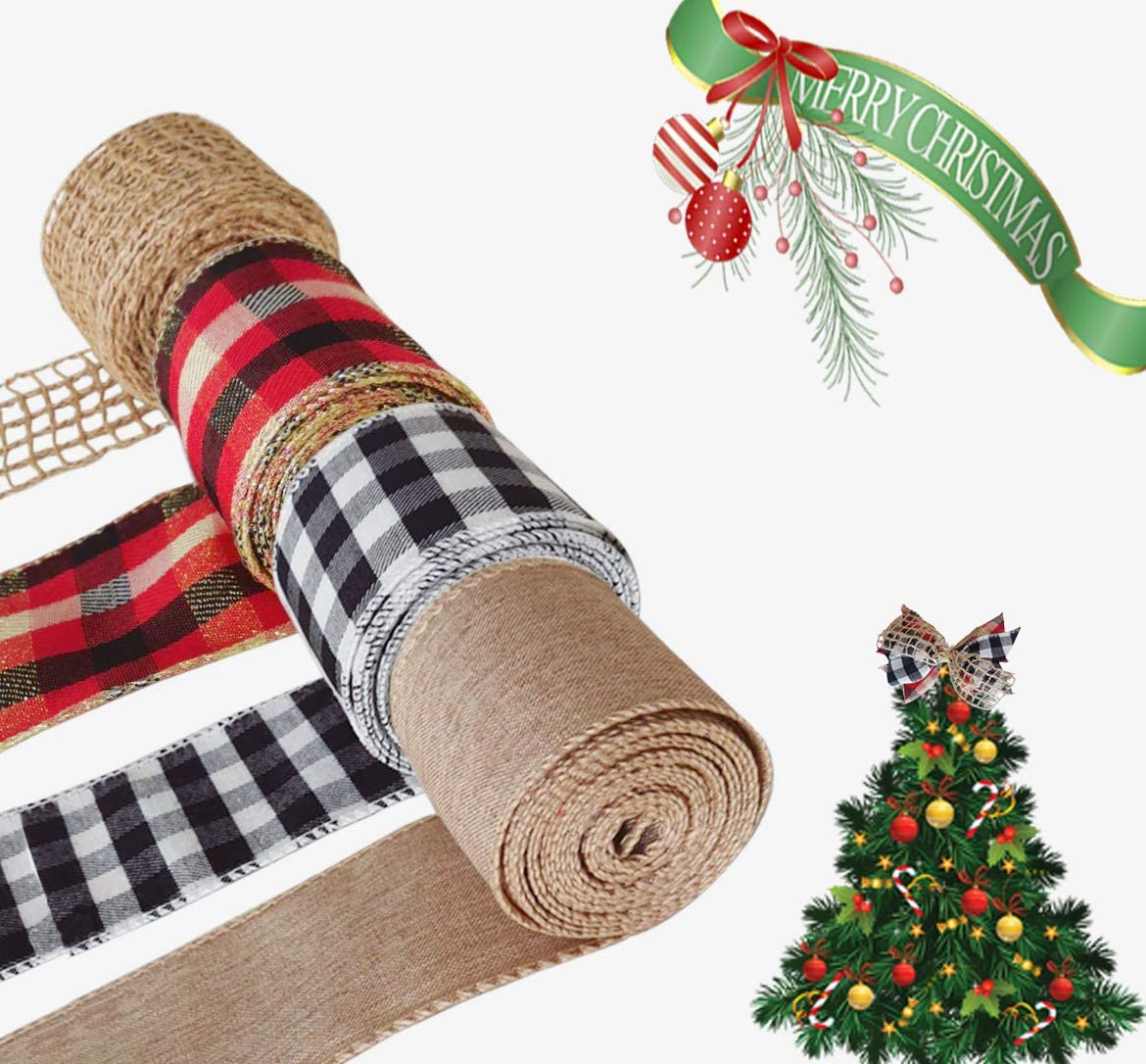 26 Yards 4 Rools Burlap Ribbon for Crafts and Gift Wrapping, Wired Rustic Farhouse Buffalo Plaid Ribbon, 2.5