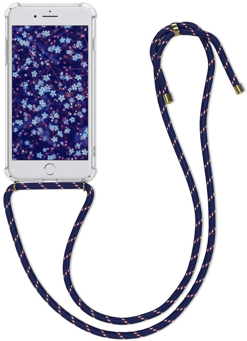 kwmobile Crossbody Case Compatible with Apple iPhone 7 Plus / 8 Plus - Clear Transparent TPU Cell Phone Cover with Neck Cord Lanyard Strap - Transparent/Dark Blue/Red