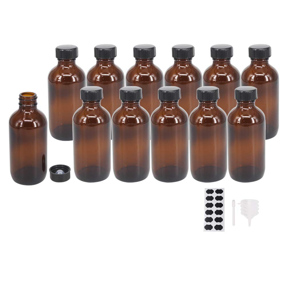 BPFY 12 Pack 4 oz Amber Boston Glass Bottle with Black Poly Cap, Funnel, Chalk Labels, Pen for Homemade Vanilla Extract, Essential Oils, Herbal Medicine, Wedding, Christmas, Holiday Gift (Amber)