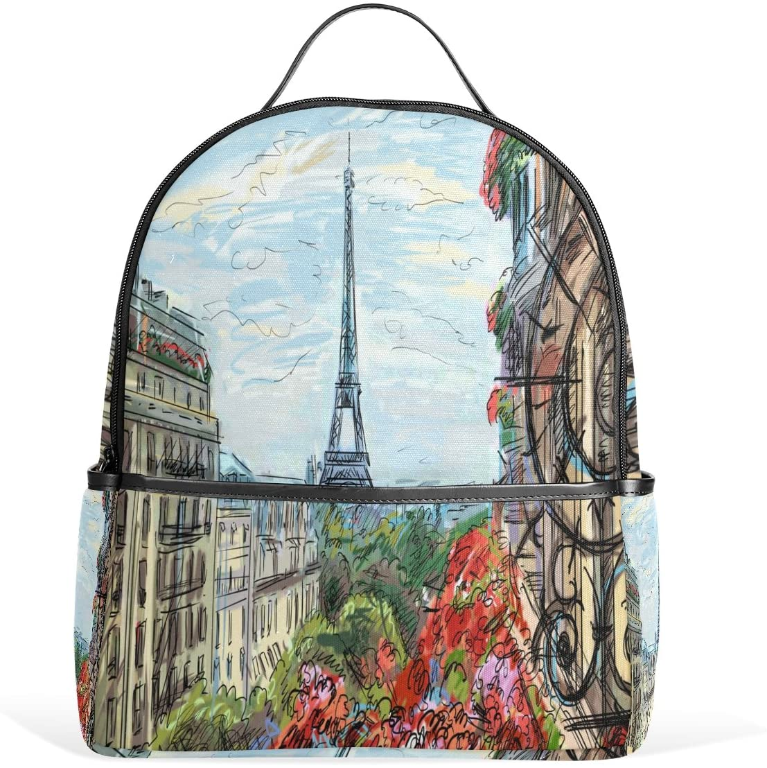 Use4 Street Paris Eiffel Tower Polyester Backpack School Travel Bag