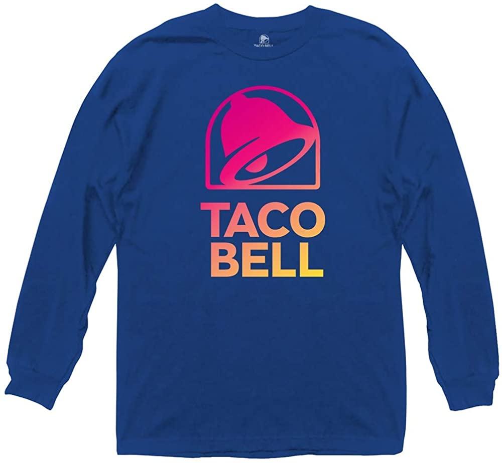 Ripple Junction Taco Bell Adult Unisex Modern Gradient Logo Light Weight 100% Cotton Long Sleeve Crew T-Shirt