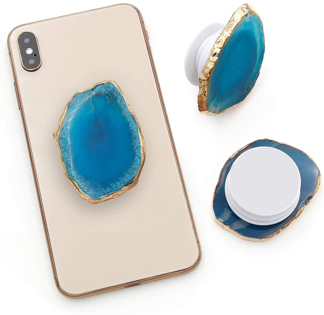 Agate Crystal Phone Grip Stand Mount Holder for Cellphone, Tablet (Blue)