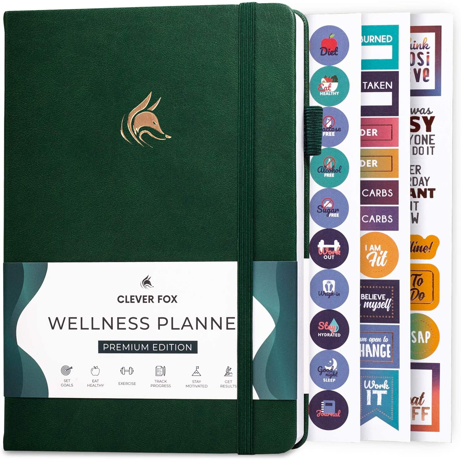 Clever Fox Wellness Journal - Weekly & Daily Health and Wellness Log, Food Journal & Meal Planner Diary for Calorie Counting, Notebook for Medical Condition Tracking, A5-Sized - Forest Green