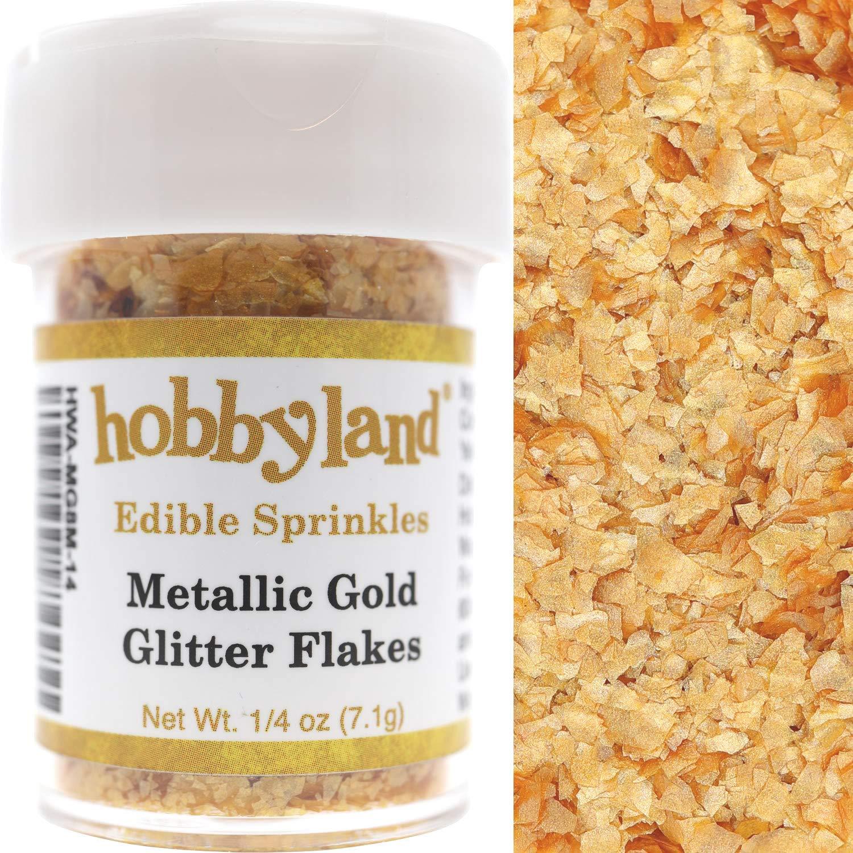 Hobbyland Edible Sprinkles (Metallic Gold Edible Glitter Flakes, 1/4 oz)