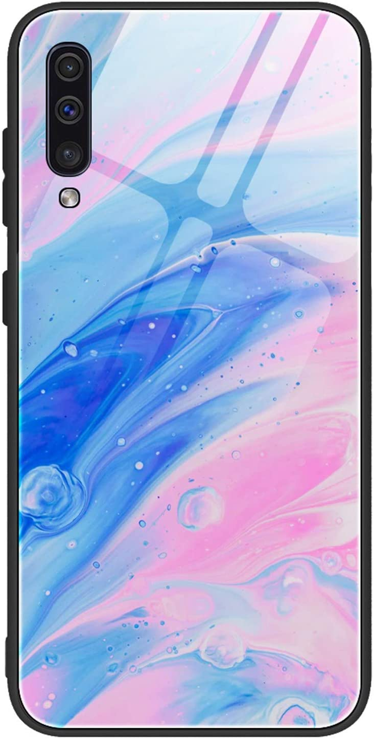 ROSE1A Compatible with Case for Samsung Galaxy A70 Case Temperting Glass Marble Pattern Back+ Anti-Scratch Soft TPU Silicone Bumper Shockproof Cover for Samsung Galaxy A70 (Pink Blue)