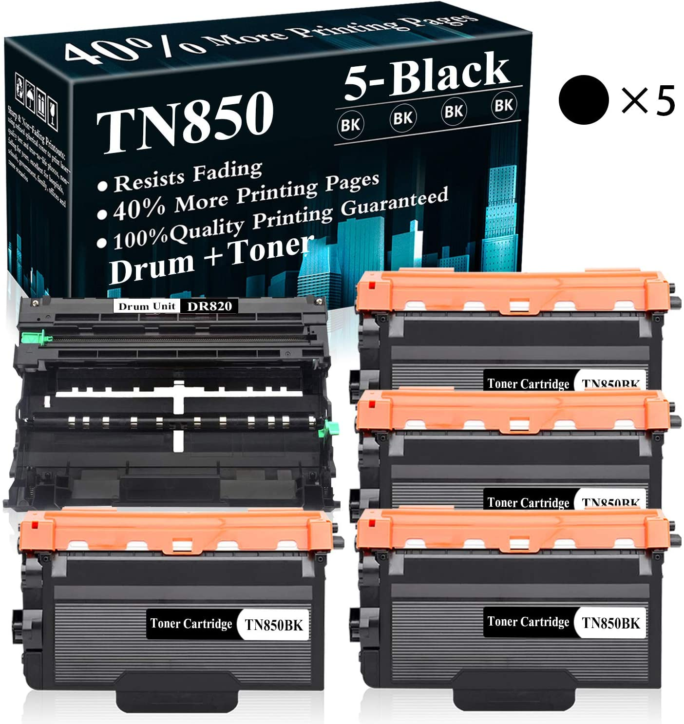 5 Pack (1Drum+4BK) DR820 Drum Unit TN850 Toner Cartridge Replacement for Brother DCP-L5500DN L5600DN L6700DW L6750DW L5700DW L5900DW L6800DW L6200DW L6250DW L5000D L5200DW Printer,Sold by TopInk