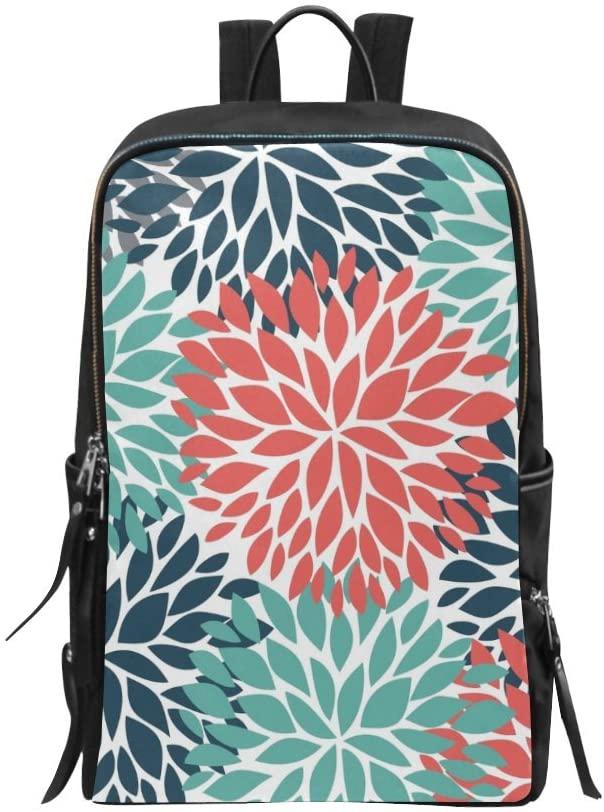 Bag Backpack Daypack Dahlia Pinnata Flower Teal Coral Gray