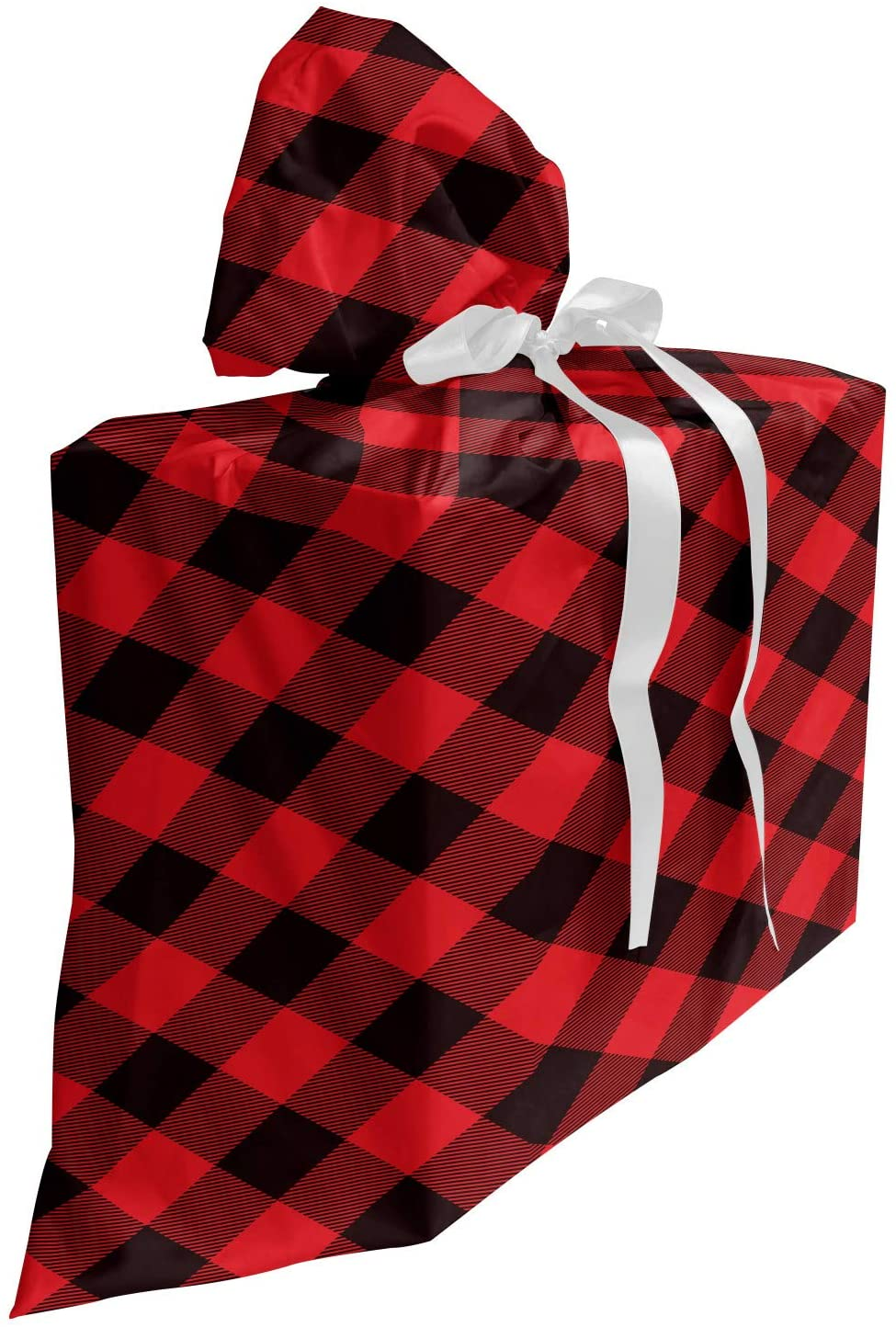 Lunarable Buffalo Plaid Baby Shower Gift Bag, Grid Style Illustration with Horizontal Lines Pattern Diamond, Reusable Fabric Party Favor Pouch with 3 Ribbons, 27