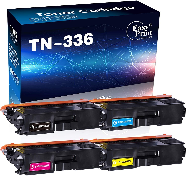 (4-Pack, BK+C+Y+M) Compatible TN-336 Toner Cartridge TN336 Used for Brother HL-L8250CDN 8350CDW 8350CDWT MFC-L8600CDW L8850CDW 8650CDW Printer, by EasyPrint