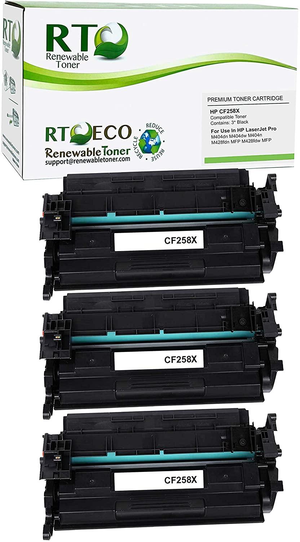 Renewable Toner Compatible Toner Cartridge Replacement for HP CF258X 58X Laserjet M404 M428 (3-Pack, No Chip)