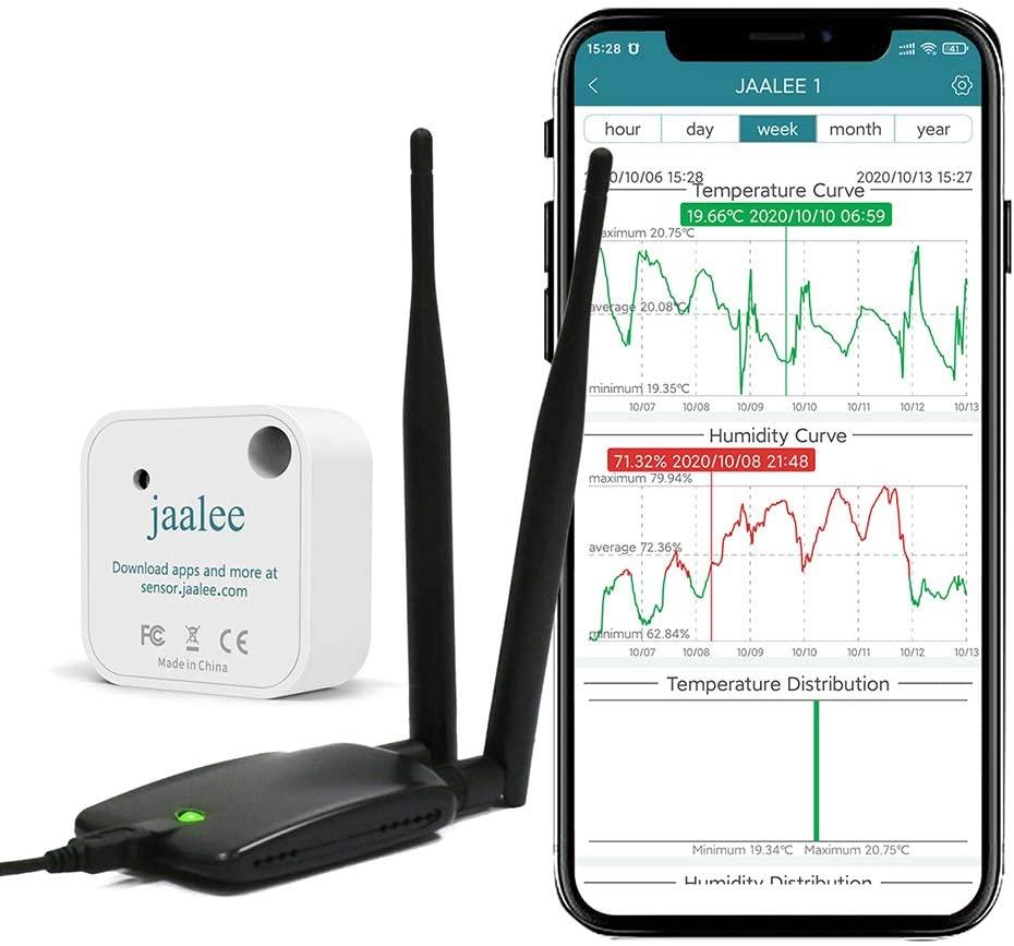 JAALEE WiFi Gateway Indoor Thermometer Hygrometer Wireless Temperature Humidity Sensor Hub with App Alert & Data Export WiFi Temp Gauge Humidity Sensor Monitor