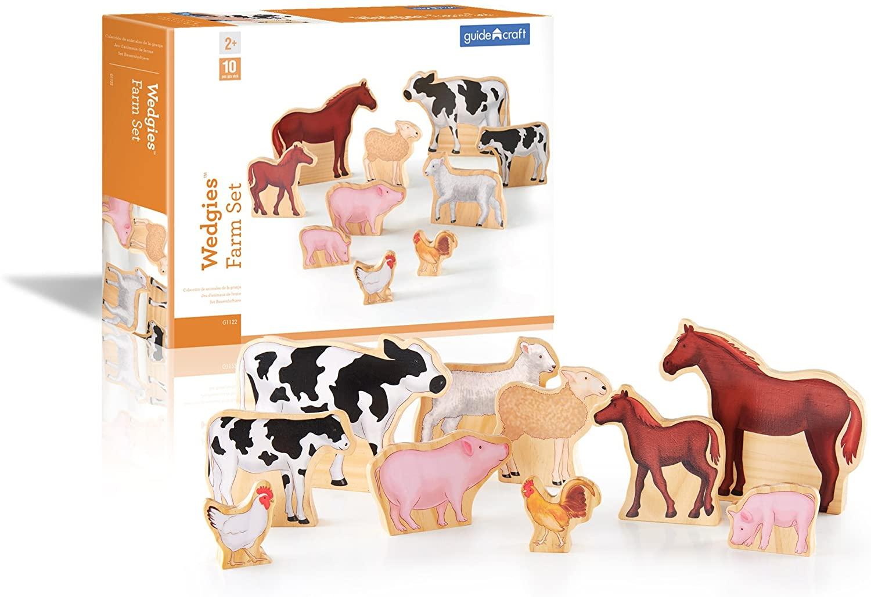 Guidecraft Wedgies Farm Animals Set - Kids Preschool Learning and Development Toy
