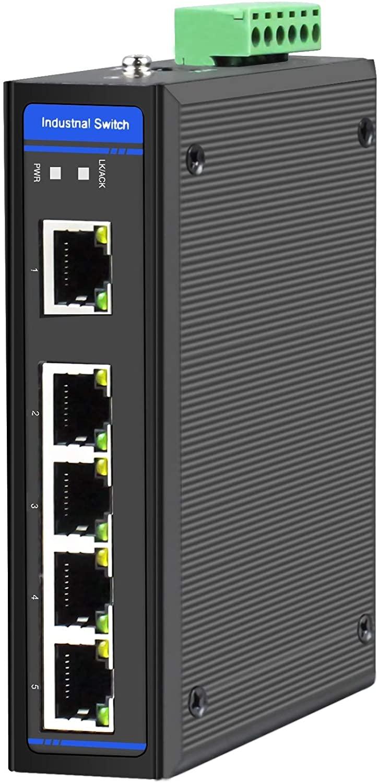 HGW-500-5X RJ45 Ports Gigabit Ethernet Industrial Fiber Switch, DIN Rail Mount, -40 to +75 Celsius