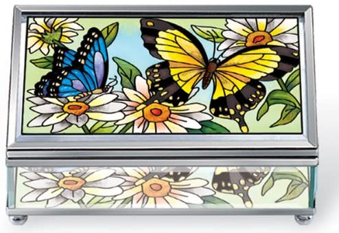 Amia 5689 Medium Rectangular Jewelry Box, Beveled and Hinged, Butterfly Design, 3-Inch W by 5-Inch L by 2-Inch H