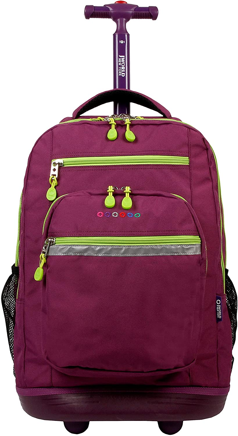 MISC New York Sundance 20-inch Laptop Rolling Backpack - Fits Up to 16-inch Purple Solid Polyester
