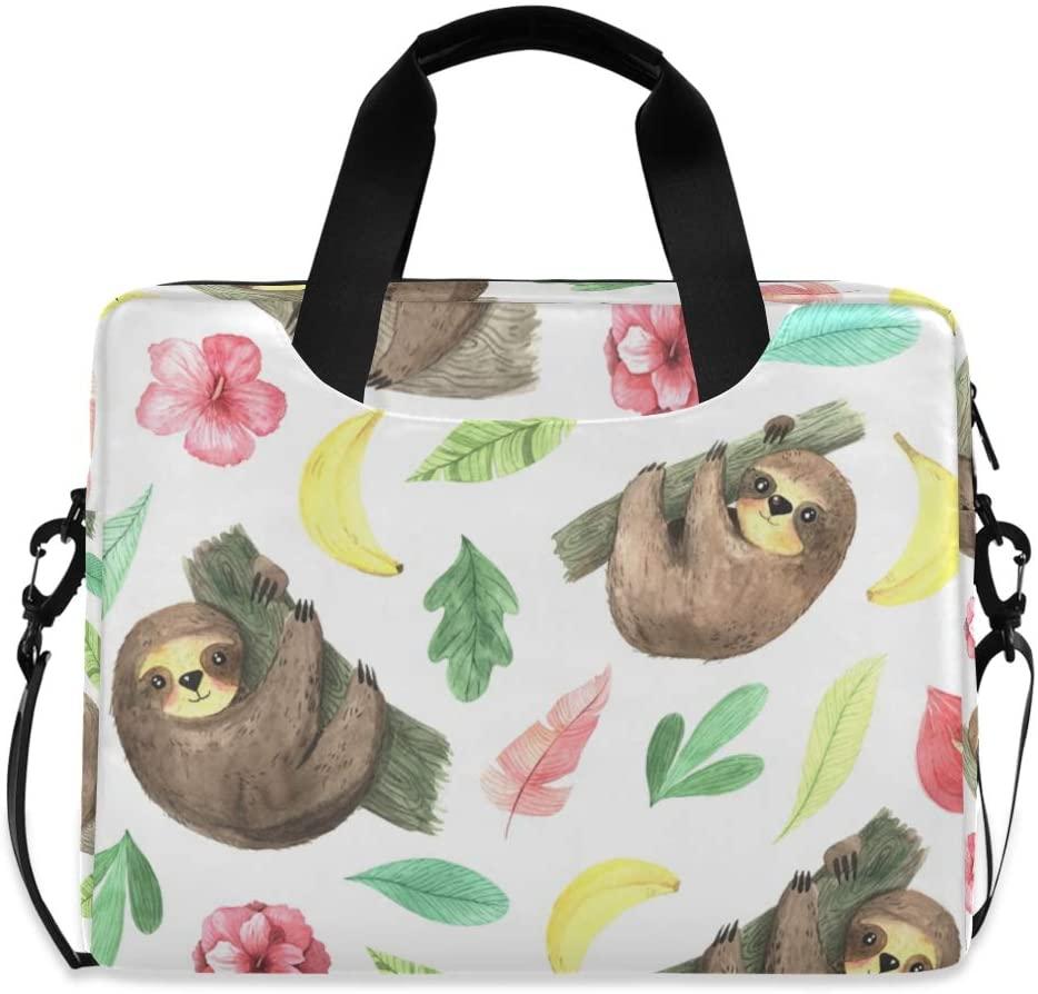 ALAZA Cartoon Sloth Animal Laptop Case Bag Sleeve Portable Crossbody Messenger Briefcase w/Strap Handle, 13 14 15.6 inch