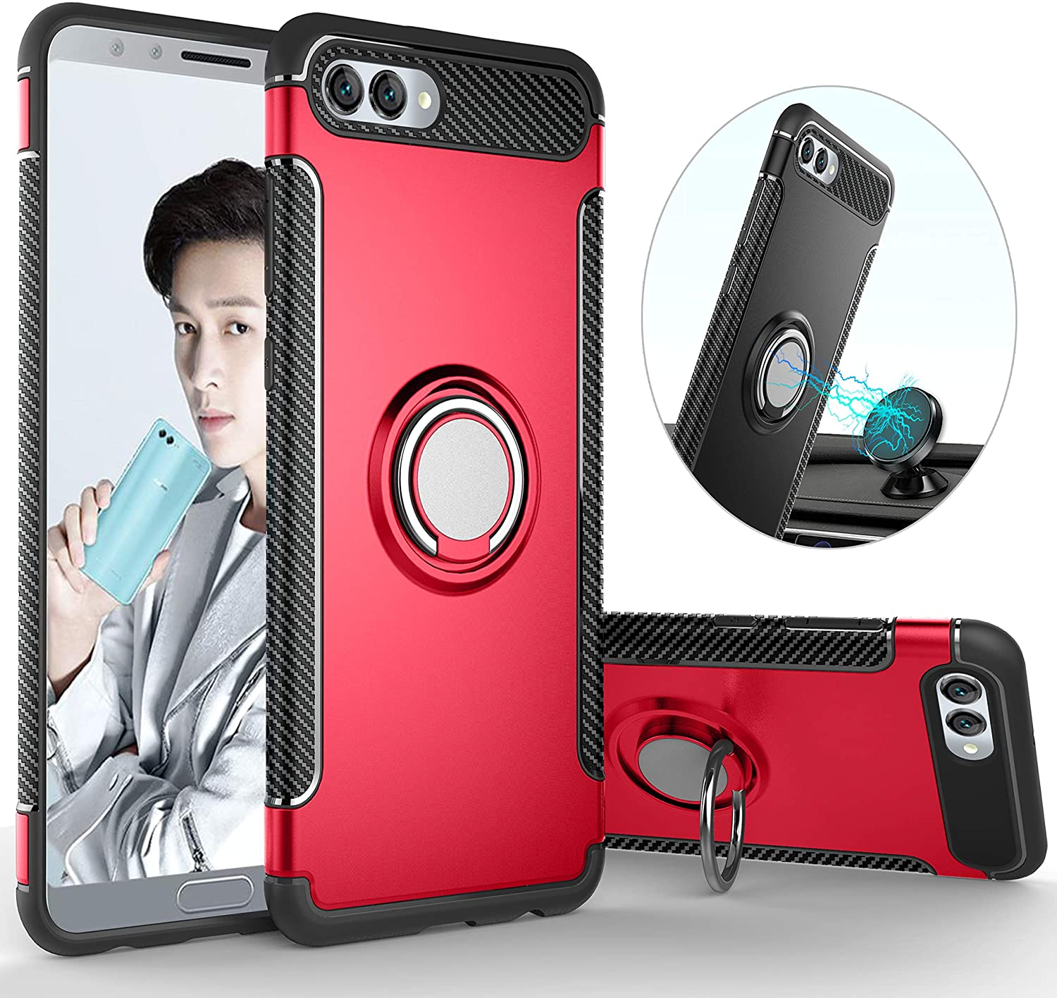 QSEEL for Huawei Honor 10 Ring Armor Case, TPU+PC Hybrid Shockproof Back Cover with Built-in Magnetic Suction Holder, Sturdy Bumper Defender (Red)