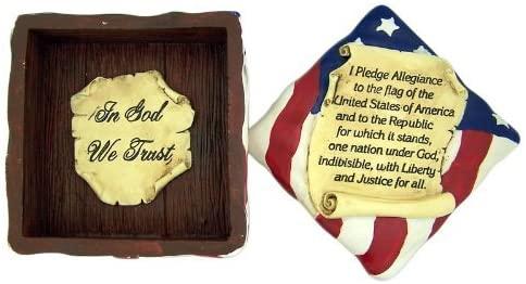 In God We Trust 4 Inch American Flag Keepsake Box with Pledge of Allegiance Scroll Lid